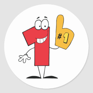 Number One Cartoon Character Round Sticker