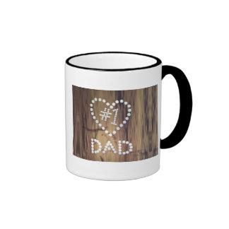 Number One Dad on Wood-look Background Ringer Mug