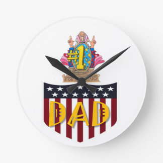 Number One Dad Round Clock