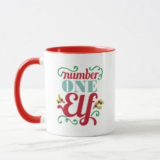 Number one elf Christmas word art mug