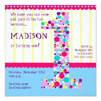 "Number One, First Birthday Party Invitation 5.25"" Square Invitation Card"