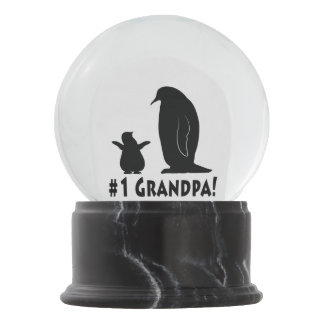 Number One Grandpa: Penguin and Chick Snow Globe