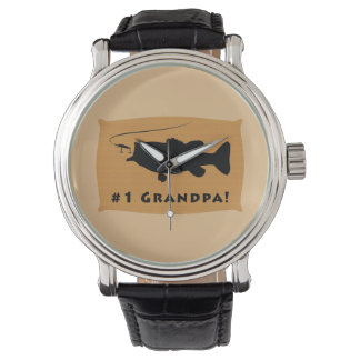 Number One Grandpa with Largemouth Bass Wristwatch