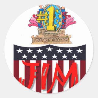 Number One jim Classic Round Sticker