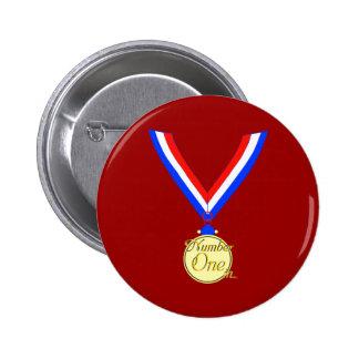 Number one medal winner gold golden buttons