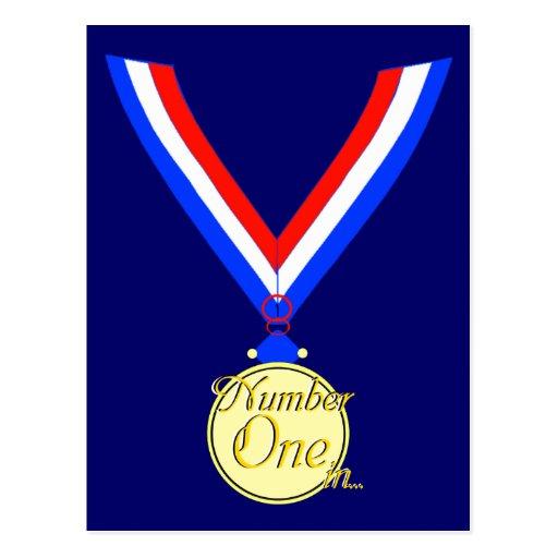 Number one medal winner gold golden post card