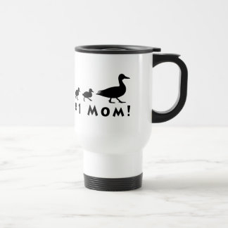 Number One Mom Duck and Ducklings in Silhouette Travel Mug