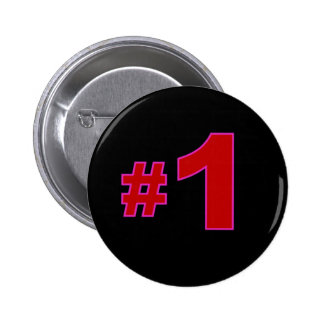 Number One Red 6 Cm Round Badge