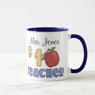 Number One Teacher, #1 Teacher Print Art Design Mug