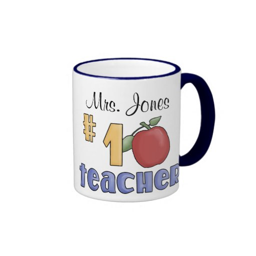 Number One Teacher, #1 Teacher Print Art Design Coffee Mug