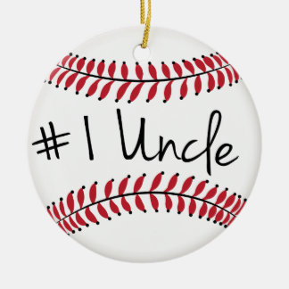 Number One Uncle with Baseball Ceramic Ornament