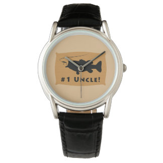 Number One Uncle with Largemouth Bass Wrist Watches