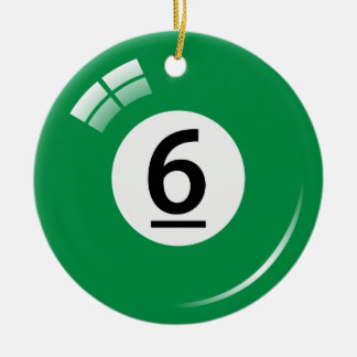 Number six pool ball ornament - double sided