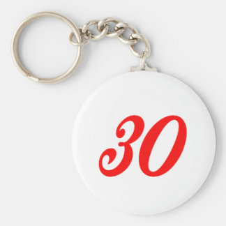 Number Thirty 30th Birthday Gifts Key Chains