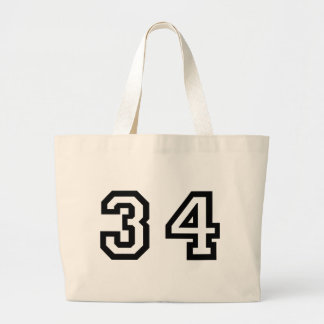 Number Thirty Four Jumbo Tote Bag