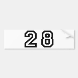 Number Twenty Eight Bumper Sticker