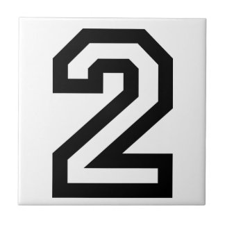 Number Two Small Square Tile