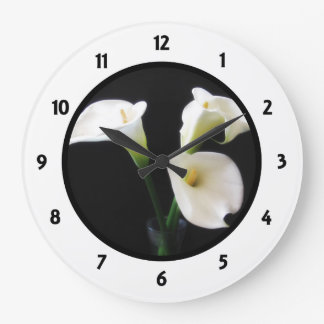 Numbered Round Clock with Calla Lilly