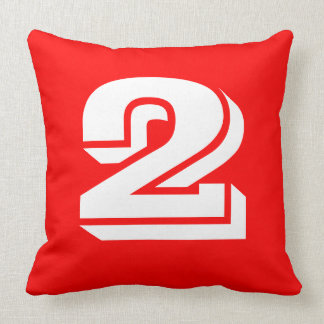 Numbered - White on Red Throw Pillow