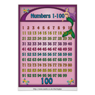 Numbers 1-100 Poster with a Cartoon Mermaid