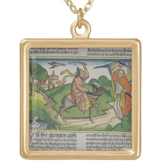 Numbers 22 20-35 Balaam's talking ass, from the 'N Square Pendant Necklace