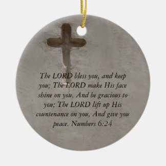 Numbers 6:24 UPLIFTING BIBLE VERSE with cross Round Ceramic Decoration