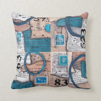 Numbers - blue vintage papers collage cushion