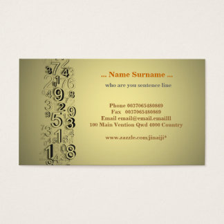 numbers business card