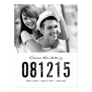 NUMBERS Save The Date Postcard