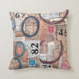 Numbers - vintage papers mixed media collage cushion