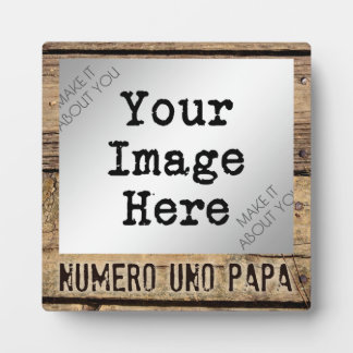 Numero Uno Papa in Rustic Wood-Framed Photo Photo Plaques