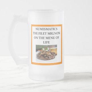 NUMISMATICS FROSTED GLASS BEER MUG