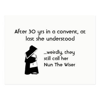 Nun joke - clean humour, Catholic Fun Postcard