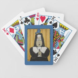 Nun playing cards