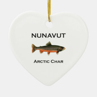 Nunavut Fishing Arctic Char Logo Ceramic Heart Decoration