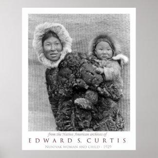Nunivak Woman Carrying Child Poster