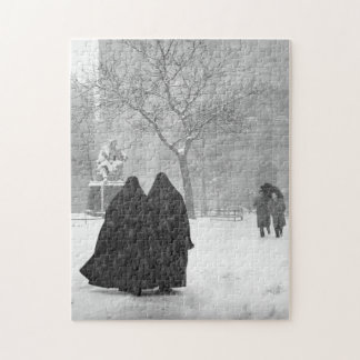 Nuns in Snow Jigsaw Puzzle
