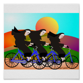 Nuns on Bikes Art Poster