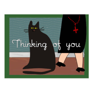 """Nuns """"Thinking of You"""" Cards & Gifts-Cat Design Postcard"""