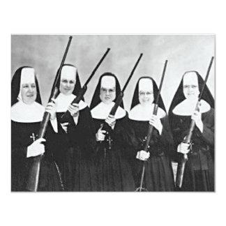 "Nuns With Guns 4.25"" X 5.5"" Invitation Card"
