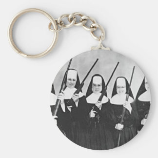 Nuns With Guns Basic Round Button Key Ring