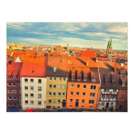 Nuremberg colorful buildings personalized invitation