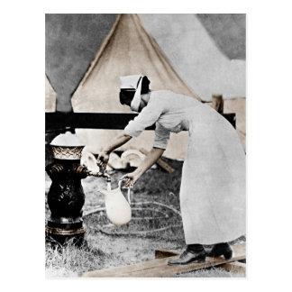 Nurse at Water Pump WWI Postcard