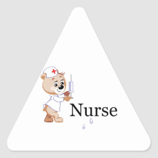 Nurse Bear Triangle Stickers