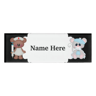 Nurse Bear taking care of patient name tag
