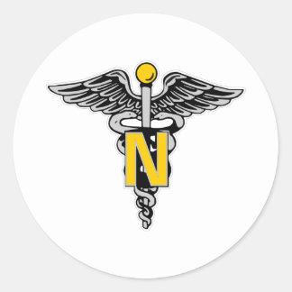Nurse Caduceus Round Sticker
