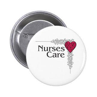 nurse care heart 6 cm round badge