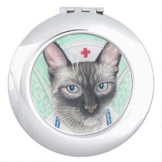 nurse cat compact mirror