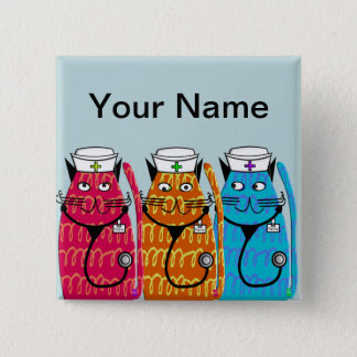 Nurse Cats Name Badge Pins Customizable III