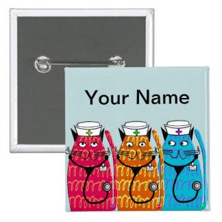 Nurse Cats Name Badge Pins Customizable III